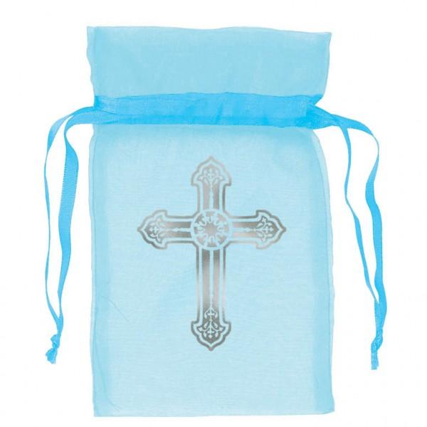 Organzasäckchen Kreuz Blau