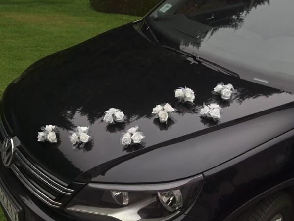 Autoschmuck Satinrosen mit Saugnapf Weiß