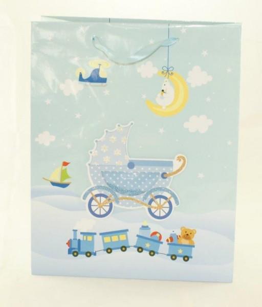Geschenksackerl Kinderwagerl Blau