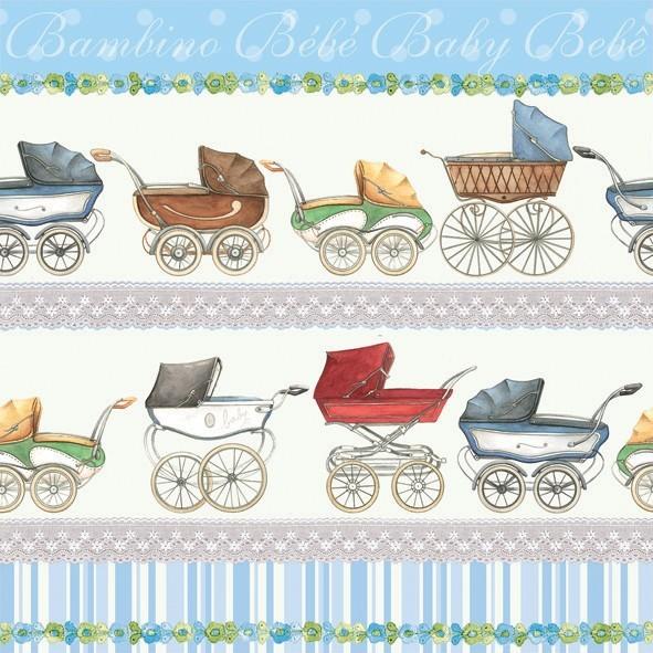 Serviette Kinderwagen Blau