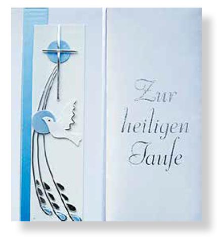 Taufbrief Taube Blau