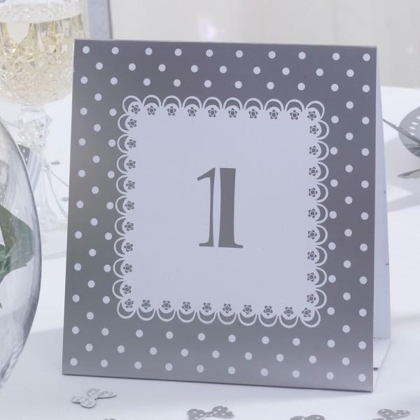 Tischnummer Chique Silber