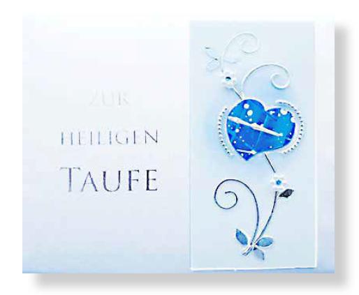 Taufbrief Herz Blau