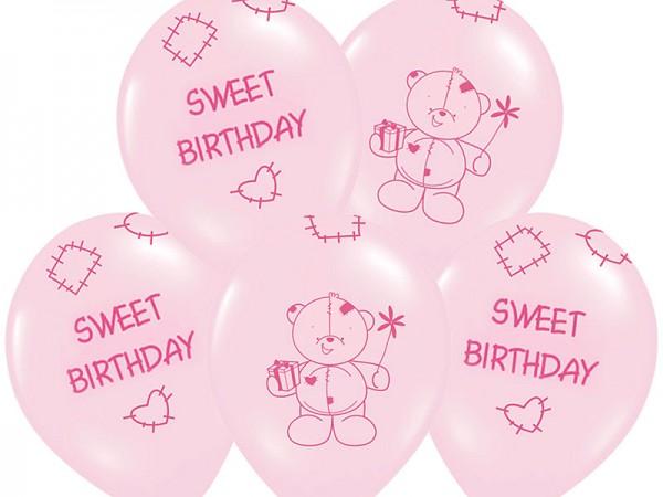 Luftballlon Sweet Birthday Rosa
